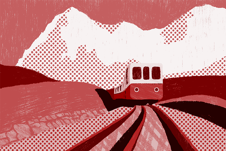 switzerland landscape red illustration with train for Peter Robinson poem translation